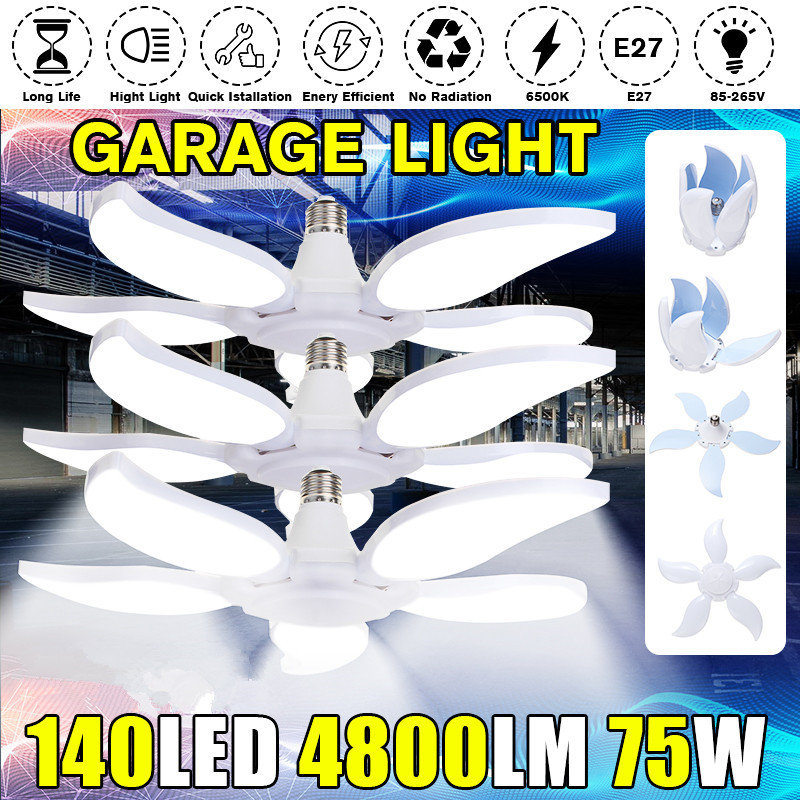 60/75W 5 Leaf 4800LM LED Garage Light E27 Workshop Ceiling Lights Fixture Deformable Lamp Industrial Lighting AC 85-265V 220V