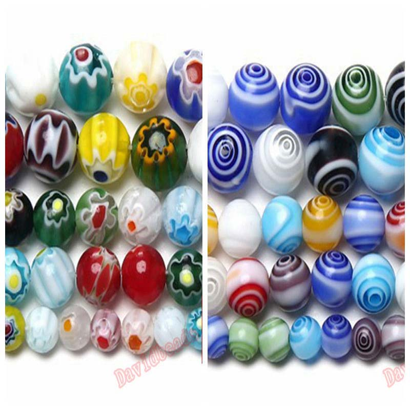 Fctory Price Multi Colors 2 Flower Stripe Millefiori Lampwork Glass Beads 6 8 10mm Pick Size For Jewelry Making diy(China)