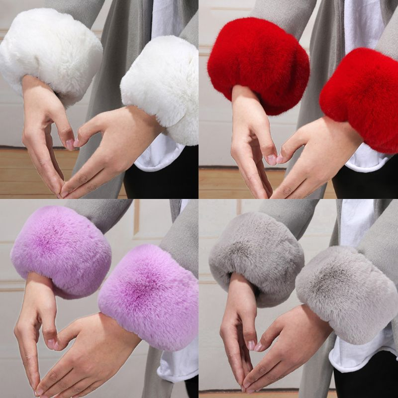 Womens Winter Fluffy Plush Short Wrist Fake Cuffs Ladies Solid Color Fuzzy Easti