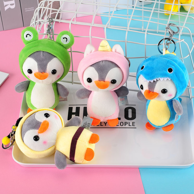 12CM Penguin Stuffed Plush Animal Pendant Keychain Doll Stroller Toys For Children Kids Small Mini Plush Toys Baby Xmas Gift