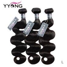 """Yyong 100% insan saçı 3 demetleri brezilyalı vücut dalga saç dokuma 8 """" 26"""" inç 3 adet/grup doğal renk Remy saç uzantıları satış"""