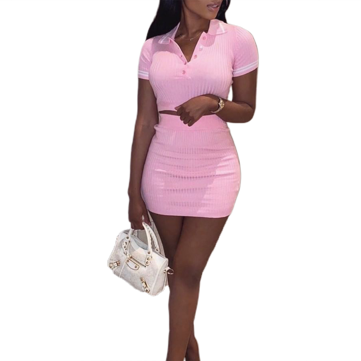 Knitting Ribbed Fashion Women Two Piece Sets Short Sleeve Casual Bodycon Outfits Button Crop Top And Skirt Co-ord Set