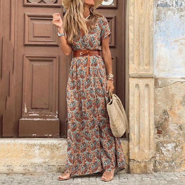 Summer Dress Women Casual Boho Bohemian Long 2021 Chiffon Oversize Short Sleeve Maxi Beach Dress Casual Elegant Sundress 1