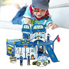 Light Weight Building Blocks Jigsaw Police Station Model Self Assembly Toy DIY Painting Coloring 3D Puzzle for Children