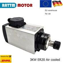 Platz CNC luftgekühlte Spindel 3KW ER20 für drehmaschine maschine 18000rpm 4 lager 300Hz 88x98x300mm 10A CNC drehmaschine spindel motor