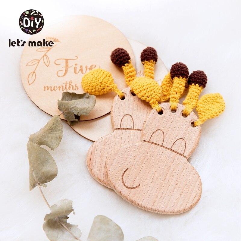 Let's Make 1pc Baby Wooden Teether Giraffe Shape Food Grade Beech Wooden Teething Toys Crochet Animal Bpa Free Baby Wood Teether