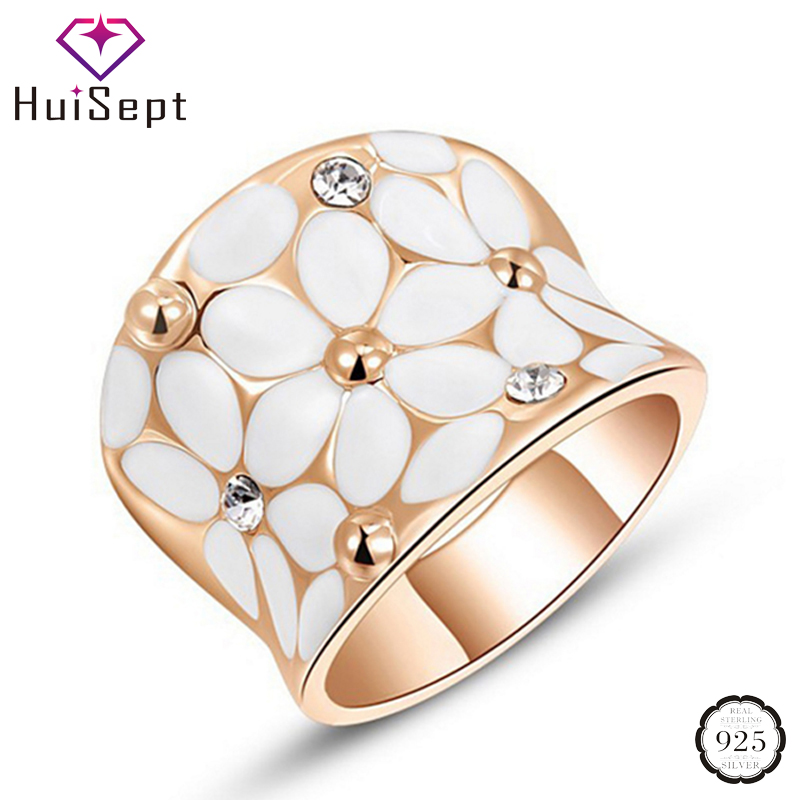 HuiSept Fashion Silver 925 Ring for Female Flower Shape Zircon Gemstone Jewelry Ornament Wedding Party Rose Gold Rings Wholesale