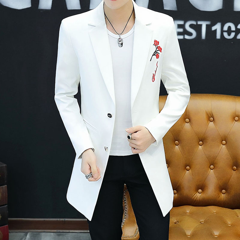 HOO 2020 Young Men Long Embroidery Small Suit Cultivate One's Morality Leisure Pure Color Two-button Suit