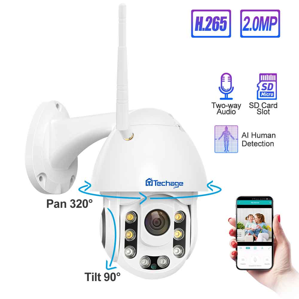 Techage 1080P Speed Dome Wifi Wireless PTZ IP Security Camera 2MP Two Way Audio Speaker SD Card IR Vision Video Outdoor CCTV Cam