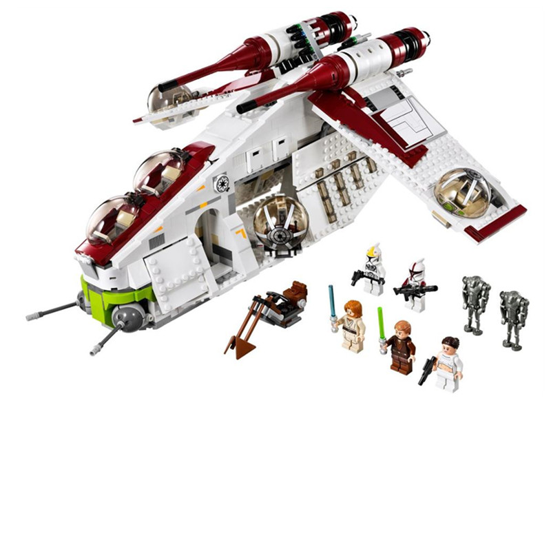 <font><b>Star</b></font> <font><b>Wars</b></font> on Toy Republic Gunship Set StarWars Compatible with leLepining 75021 Children's Ship Educational Blocks Toys for kids image