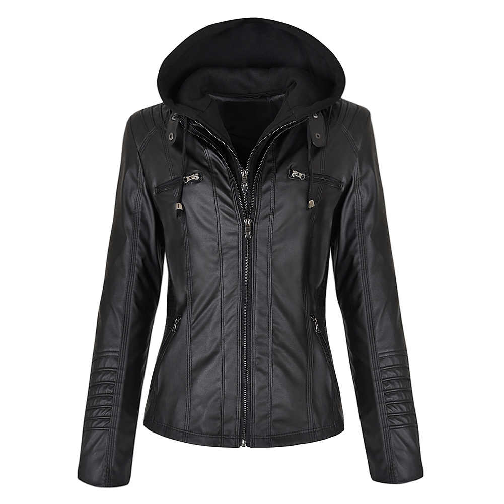 Faux skórzana kurtka kobiety bluzy Gothic motocykl podstawowa kurtka PU płaszcze odzież wierzchnia z kapturem, na suwak wodoodporny płaszcz damski