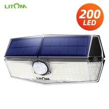 Yükseltilmiş LITOM 200 LED güneş ışığı IPX7 su geçirmez hareket sensörü duvar lambası 3 ayarlanabilir modları ve 270 derece geniş açı bahçe lambası