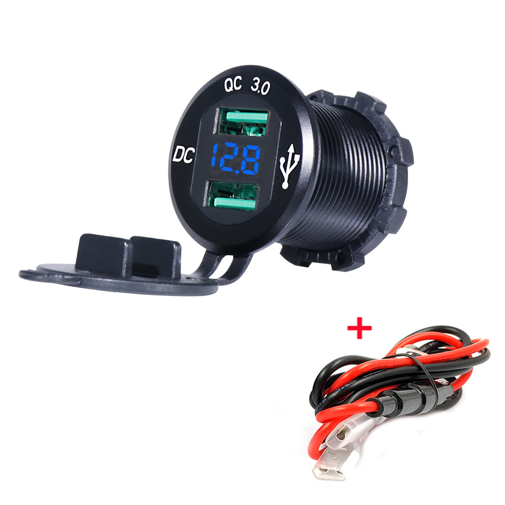 12V/24V Quick Charger 3.0 QC3.0 Waterproof Dual USB Car Charger Voltmeter 60cm Cable 10A FUSE For Car Boat Motorcycle Truck Golf