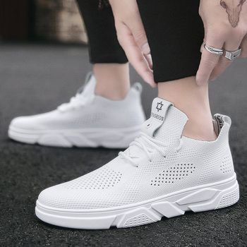 Men Casual Shoes Light Walking Shoes Mena Fashion Sneakers White Walking Shoes Men Vulcanize Shoes Breathable Student Flat Shoes image