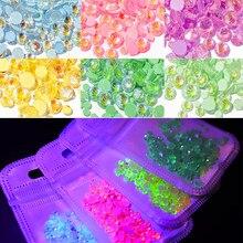 1 paczka Luminous Crystal mieszany rozmiar SS6-SS20 Nail Art dekoracyjne kryształy 3D brokat diament Jewelly świecące w ciemności ozdoby