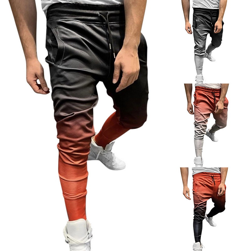 2019 New Mens Joggers Trousers Gradient Autumn Gyms Pants Men Joggers Sweatpants Sporting High Quality Bodybuilding Pants Man