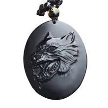 Drop Shipping Men's Necklace Pendant Black Obsidian Wolf Head Wolf' Fang Pendant Amulet Lucky Gift for Men Women Fashion Jewelry цена