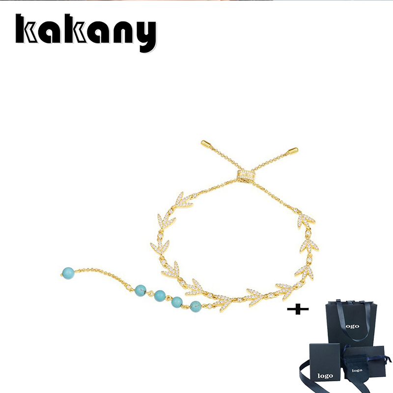 Kakany High Quality Cubic Zirconia Gold Bay Leaf With Pearl Shop Cz Zircon Leaf Adjustable Bracelet Women Fashion Jewelry Gift