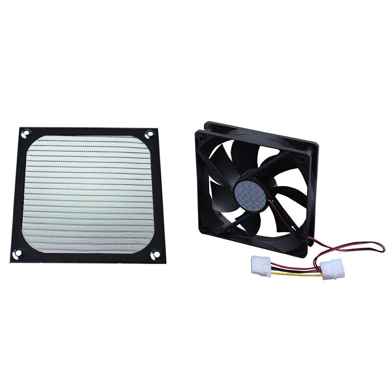 1Pcs 12Cm x 12Cm PC Cooler Fan Aluminum Dustproof Meshy Filter Black & 1Pcs 120Mm x 25Mm DC 24V 4Pin Sleeve Bearing Computer Cas
