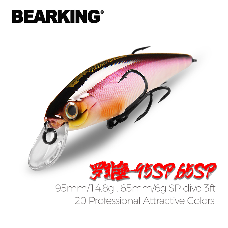 BEARKING Squad Minnow 95mm 14.8g 65mm 6g Tungsten weight system SP fishing lures assorted colors crank wobbler crank bait| |   - AliExpress
