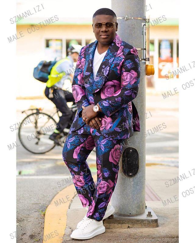 Trajes De Hombre Coat Pants Suits For Men 2020 Wedding Dress Purple Big Floral 2 Pieces Set Tuxedo Groom Wedding Suits For Men