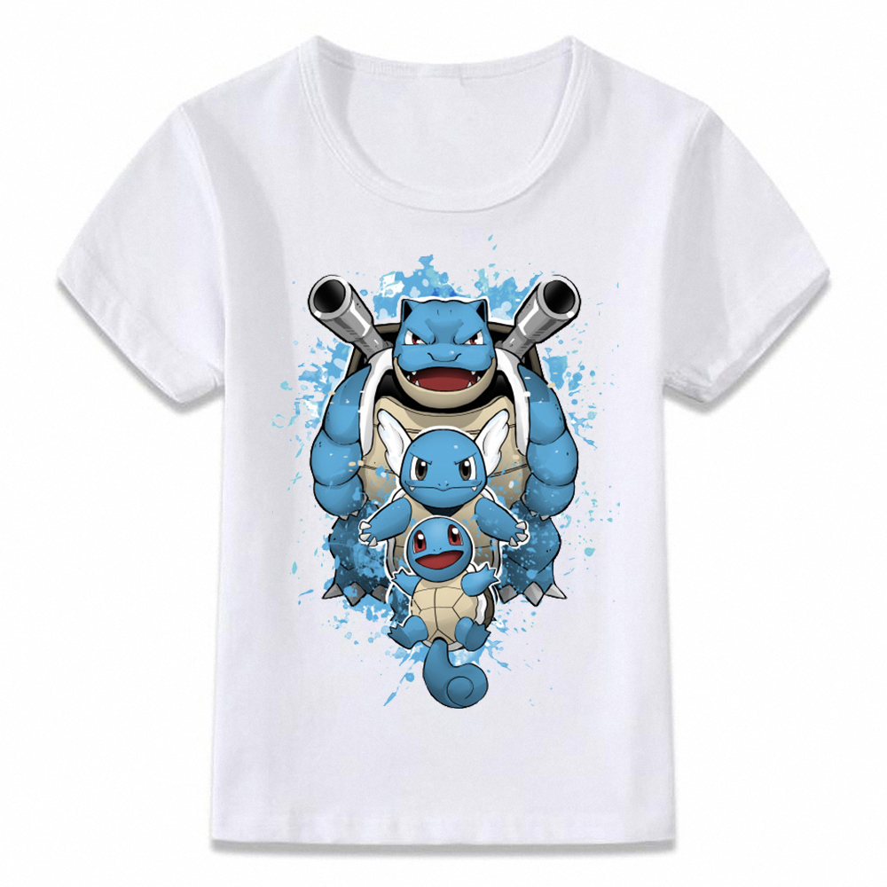 Kids Clothes T Shirt Pokemon The Water Type Squirtle Blastoise T-shirt For Boys And Girls Toddler Shirts Tee