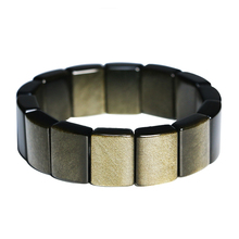 New Natural Gold Obsidian Hand Row Wrist Bracelet Fashion Jewelry Amulet Stretch Stone Gold Rectangle Bracelets For Couples luck natural crystal stone obsidian bracelet 6 16mm amulet round beads stretch bracelet unisex for men women fashion jewelry