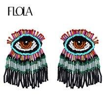 Flola boêmio mal olho frisado brincos para as mulheres feito à mão grânulos borla gota brincos colorido statement boho jóias ersq90