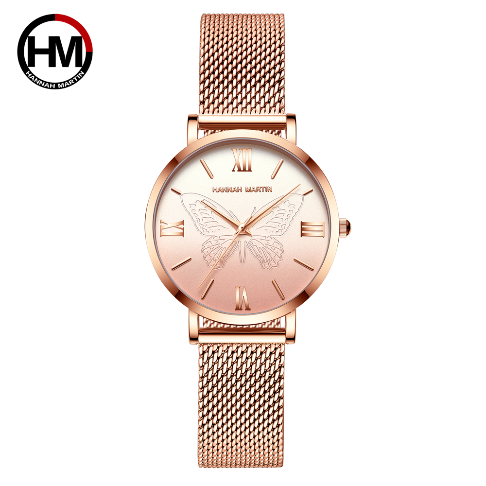 Women Watches Japan Quartz Movement 3D Butterfly Top Brand Luxury Stainless Steel Waterproof Wristwatches Relogio Feminino