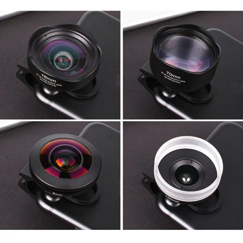 4 en 1 Kit de lente de cámara de teléfono sin distorsión Objetivo Macro de gran angular de ojo de pez con Clips Lentes para la mayoría de Smartphones - 3