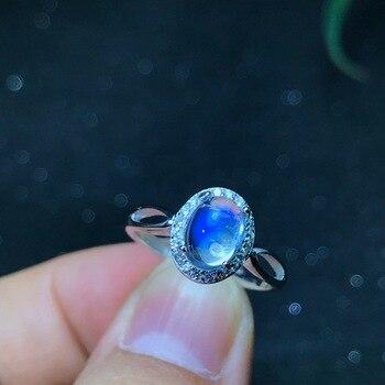 elegant women ring  moonstone gemstone ring 925 silver fine jewelry natural gem moonlight birthstone birthday party date gift