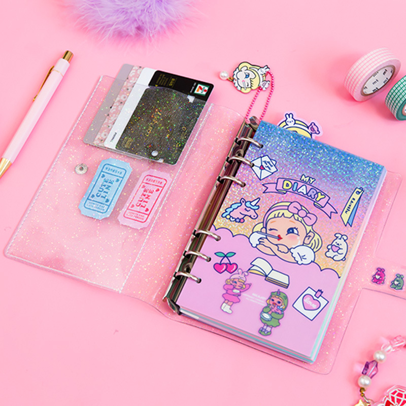 Bentoy Glitter Transparent Notebook Student Journal Book Women Travel Planner Diary Multifunction Notepad Card Holder Cover Case