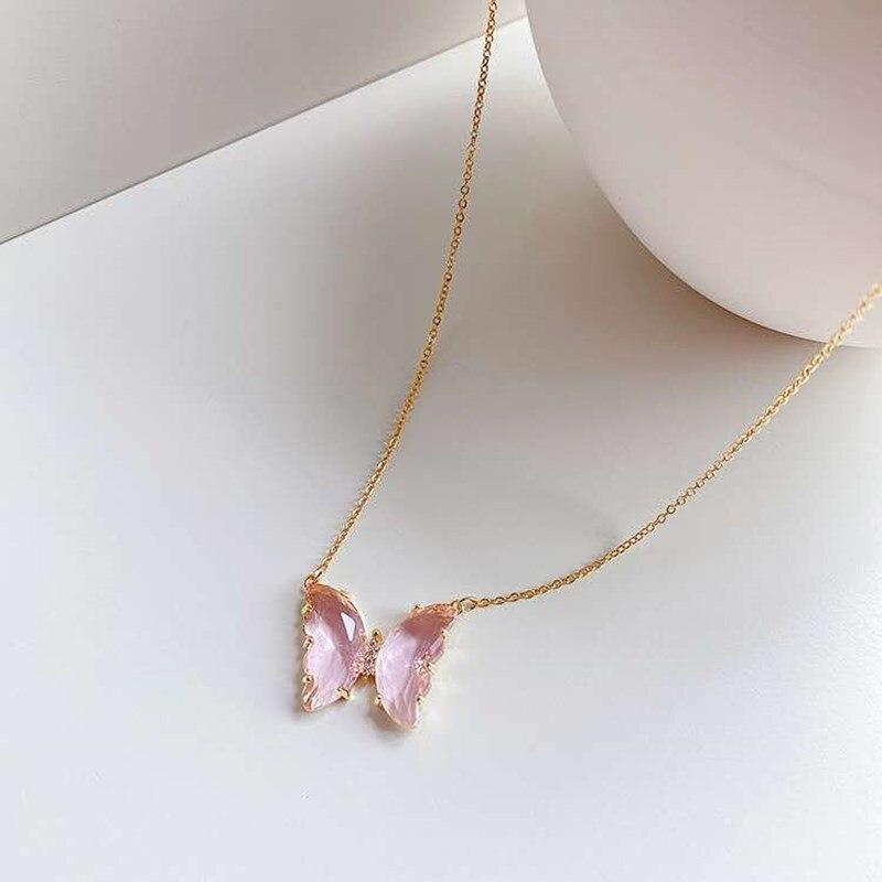 2020 модные новые позолоченные ожерелья с хрустальными бабочками очаровательные ювелирные изделия розовая фиолетовая бабочка кулон ожерель...