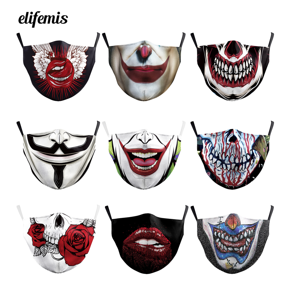 Funny Jokers Smiling Clown Meme Lips Face Mask For Dust Washable Reusable Mouth Mask Breathable Skull Skeletons Pattern