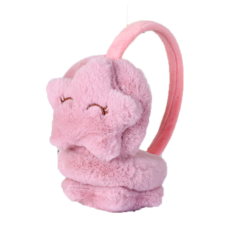 Women Kids Winter Warm Earmuffs Stars Plush Ear Cover Comfortable Soft Faux Fur Ear Warmer Solid Color Cute Children's Ear Muffs