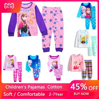2021 Spring Girls Elsa Anna Clothes Toddler Mickey Minnie Long Sleeve Pyjama Set Kids Girl Fall Outfits Clothing Pajamas Suit