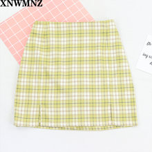 Для женщин Разделение детали плед мини юбка s harajuku Высокая