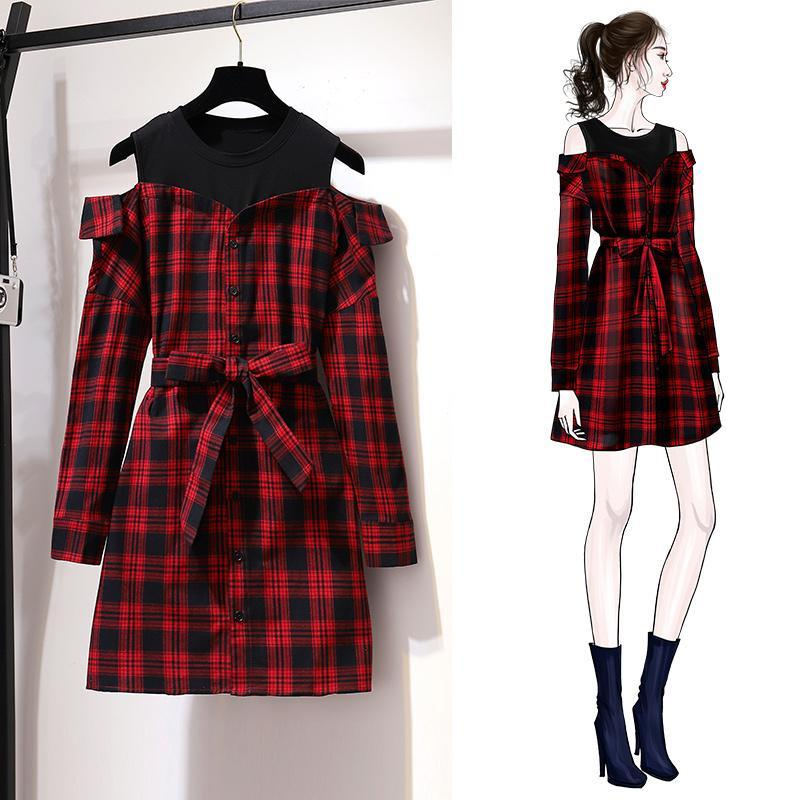 ICHOIX Korean Style Cute Red Plaid Shirt Dress Long Sleeve With Belt Mini Dress Casual Off-shoulder Spring Fall Women Dress