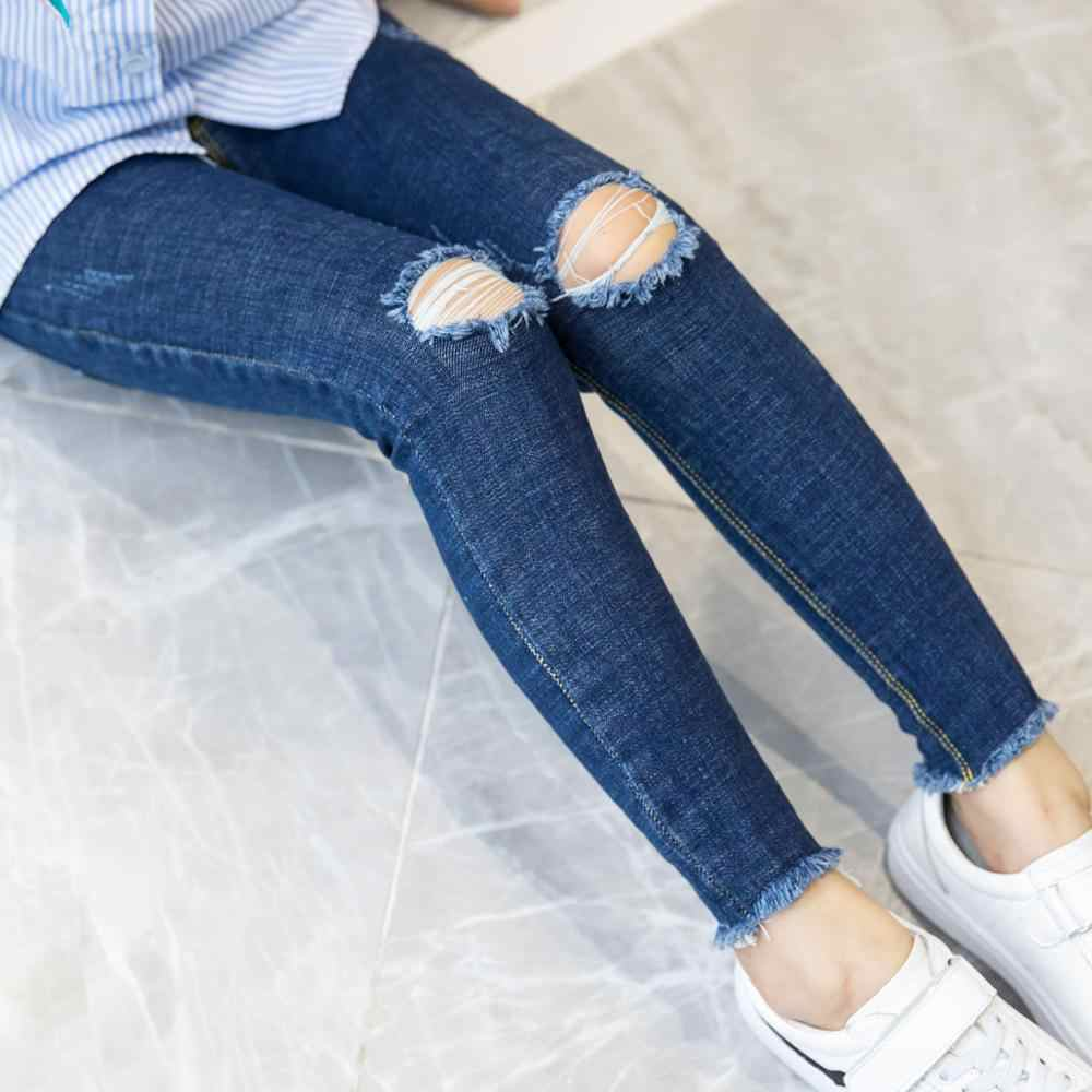 Hot Sale Girls Jeans Hole Ripped Jeans For Kids Korean Denim Pants Black  Thicken Jeans Floral Jean Pants Girl Trousers Jeans  - AliExpress