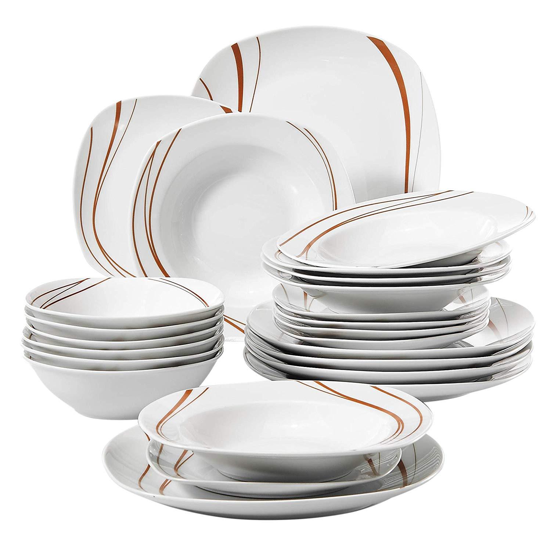 VEWEET BONNIE ensemble de vaisselle en céramique | Assiette de table en céramique de 24 pièces, service de vaisselle en porcelaine de bol assiette à Dessert, assiette à soupe
