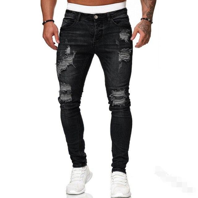 Adisputent-pantalones de chándal Sexy para hombre, vaqueros con agujeros, informales, rasgados, ajustados, para verano y otoño 4