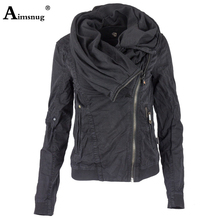 Aimsnug New European and American Autumn Winter Solid Diagonal Zipper Hooded Coats Stitching Pocket Hoodie Jacket Female