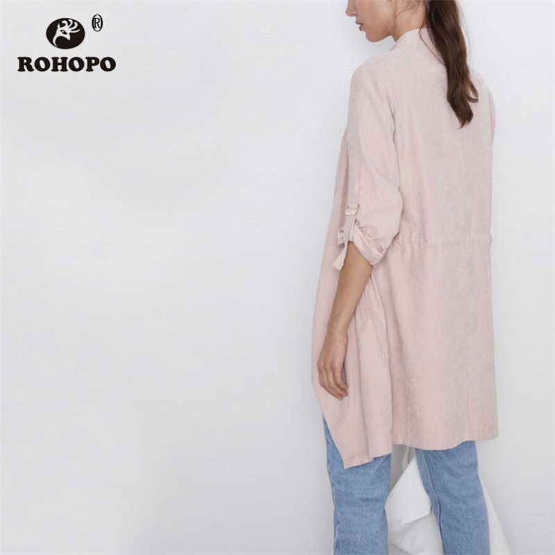 ROHOPO Notched Collar Ruched Cuff Baggy Style Pink Long Blazer Drawstring Waist Pleated Hem Ladies Autumn Outwears #2311