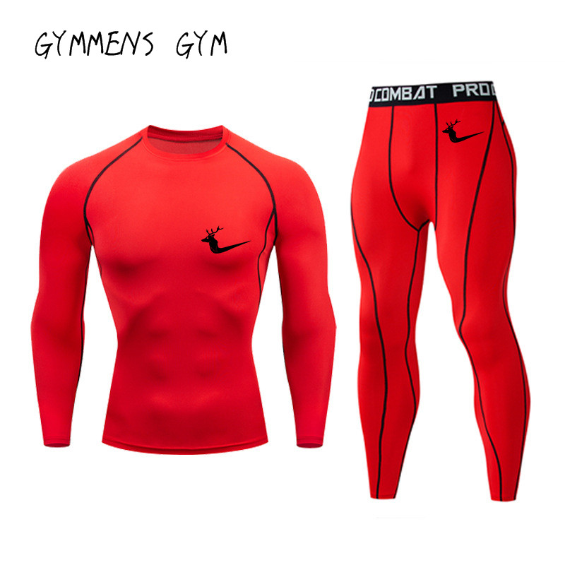 Men's Gym Tracksuit Set Joggers Quick Dry Running T Shirt Men Leggings Shorts Fitness Sport Training Thermal Underwear Running