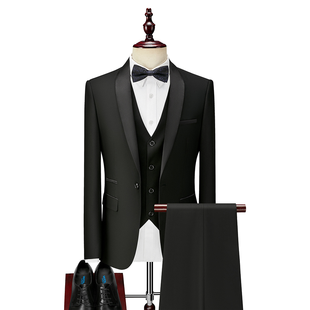 3 Piece Boyfriend Men Suits for slim fit Wedding Tuxedos Black Formal Groom Suit Set Jacket Pants Vest Ready in Stock 2020