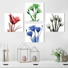 Modern Flower Watercolor Oil Painting Plant Flower Waterproof Canvas Painting Living Room Background Wall Art Quadro Pictures