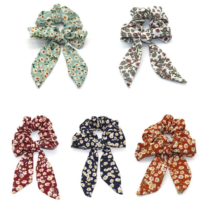 1PCS Women Elastic Hair Bands Floral Print Scrunchies Bow Hair Scarf Hair Rope Ties Fashion Ponytail Hairband Hair Accessories