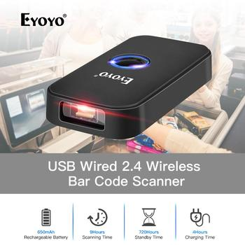 цена на Eyoyo EY-009L Mini 3-in-1 Bluetooth USB Wired&Wireless 1D Barcode Scanner Portable Bar Code Reader for Windows Android iOS iPad