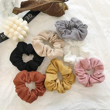 Fashion Women Vintage Soli Corduroy Hair Scrunchies Shining Fabric Big Hair Ties Elegant Quality Rubber Bands Hair Gums