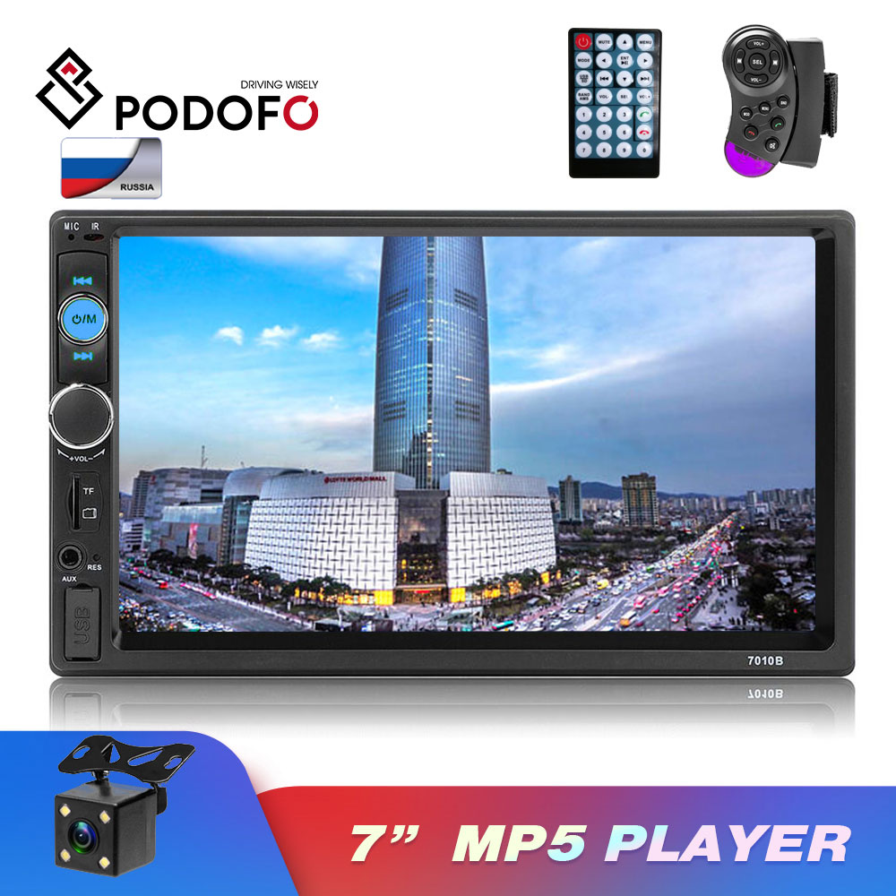 <font><b>Podofo</b></font> Car Radio Autoradio 7 inch 2 din Touch Screen Car MP5 Player Bluetooth Mirror-Link Rear View Camera <font><b>7018B</b></font> FM MP5 Player image